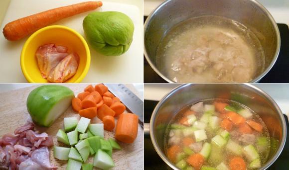 cách nấu ăn, dạy nấu ăn, các món ngon từ thịt gà, các món canh dễ làm, canh gà nấu su su, cách làm canh gà nấu su su