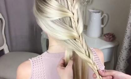 Tóc tết hình bông hoa, tết tóc hình bông hoa, Tạo mẫu tóc, Tóc đẹp, Clip làm đẹp