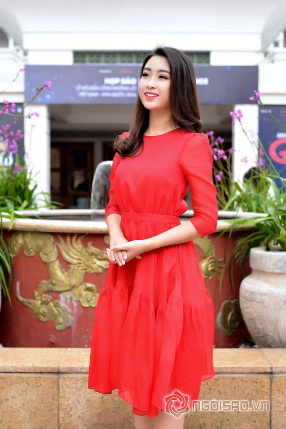 Hoa hậu Mỹ Linh váy đỏ nổi bật 6