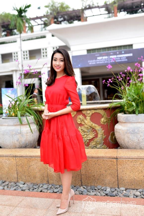 Hoa hậu Mỹ Linh váy đỏ nổi bật 3