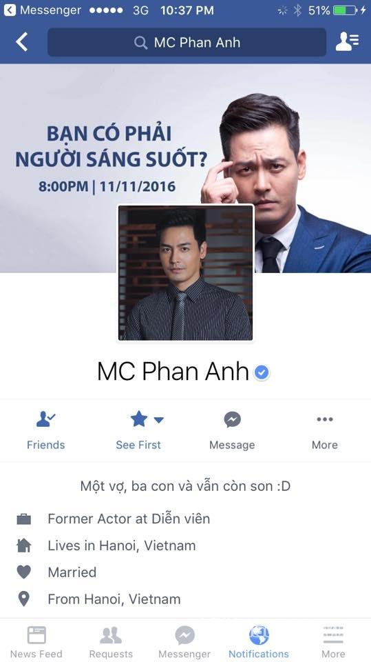 MC Phan Anh bất ngờ khóa Facebook vì có kẻ xấu chiếm quyền sử dụng