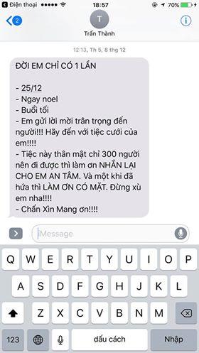 Sau ảnh cưới, Trấn Thành lại lộ tin nhắn mời ăn cưới