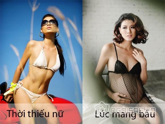 Nhìn bụng mỡ xồ xề của mỹ nhân Việt khi mang bầu để lấy tinh thần giảm cân sau sinh