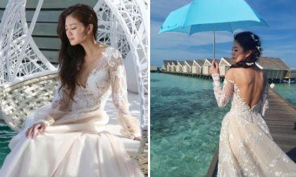 An Dĩ Hiên diện váy cưới,cô dâu An Dĩ Hiên,An Dĩ Hiên, an dĩ hiên đám cưới, sao Hoa ngữ