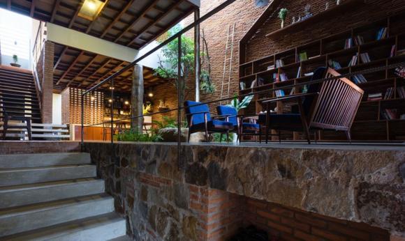 nhà vườn, nhà có không gian xanh, mẫu nhà đẹp, nhà tường gạch,