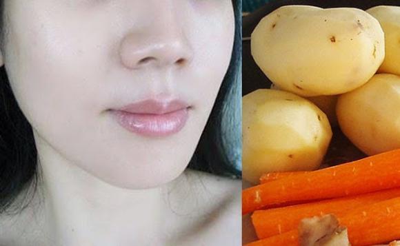 làm đẹp, trắng da, cách làm trắng da, khoai tây, cà rốt, bột nghệ