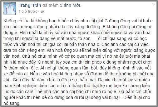 sao Việt,nghệ sĩ Xuân Hương,Trang Trần,Trang Trần mắng chửi Xuân Hương