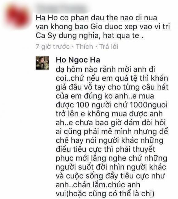 nữ ca sĩ hồ ngọc hà,Nữ hoàng giải trí Hồ Ngọc Hà,hồ ngọc hà đáp trả antil fan, sao Việt