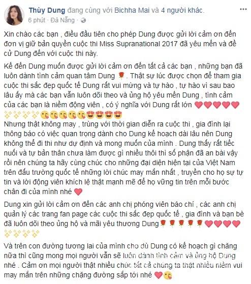 Hoa hậu Thùy Dung, Thùy Dung, Miss Supranational 2017, Hoa hậu Siêu quốc gia