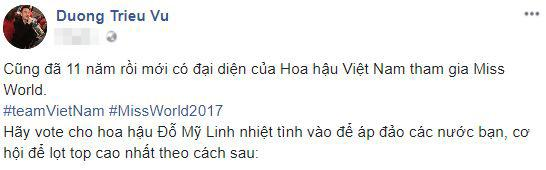Sao Việt 'rầm rộ' động viên Đỗ Mỹ Linh trước đêm chung kết Hoa hậu Thế giới 2017