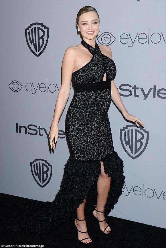siêu mẫu Miranda Kerr, miranda kerr bầu bí, miranda kerr vác bụng bầu, tiệc hậu Quả Cầu Vàng