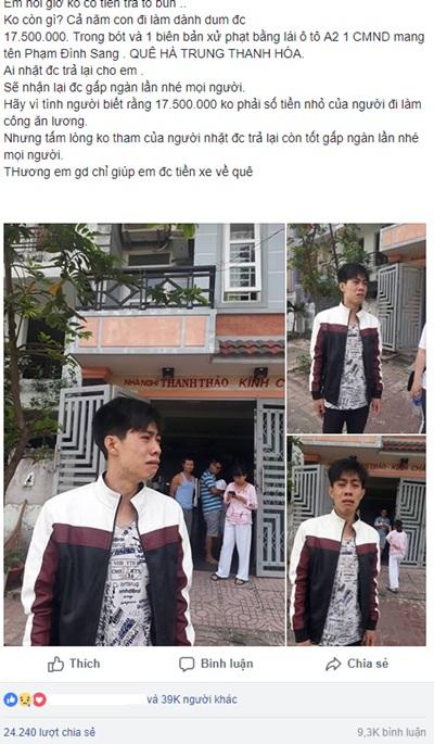 Phạm Đình Sang, mất ví tiền, về quê ăn tết