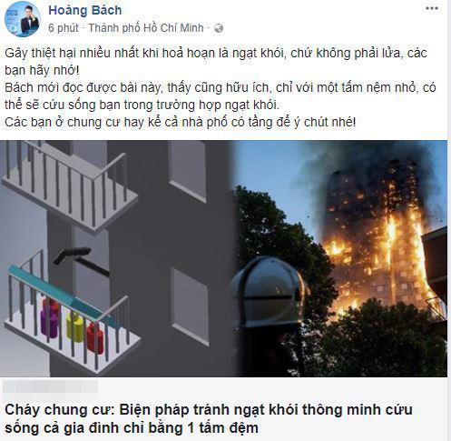 lưu hương giang, cháy chung cư cao cấp, sao Việt