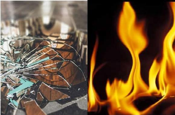gương vỡ, rắc muối, đốt vía