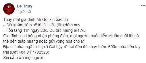 stylis Mì Gói qua đời, stylis Mì Gói, sao Việt