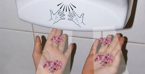 máy sấy khô tay, máy sấy khô tay trong toilet, máy sấy tay, Đi vệ sinh xong nên dùng khăn giấy hay máy sấy khô tay