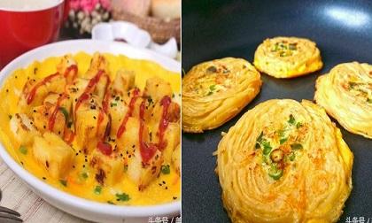 trứng xào, đậu xào thập cẩm, món mới
