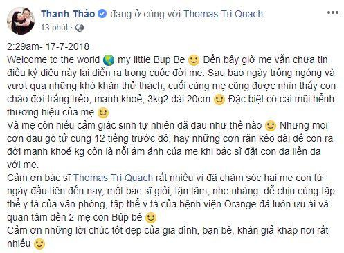 Thanh Thảo sinh con,Thanh Thảo,sao Việt