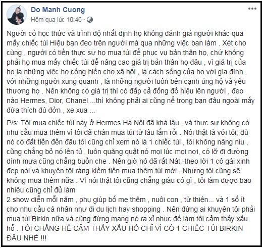 Đỗ Mạnh Cường, sao Việt, hàng hiệu