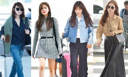 mỹ nhân hàn, thời trang sân bay sao hàn, hàng hiệu sao hàn