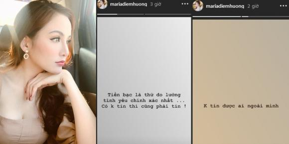 Hoa hậu Diễm Hương, hoa hậu thế giới người việt,  triết lí về tình - tiền
