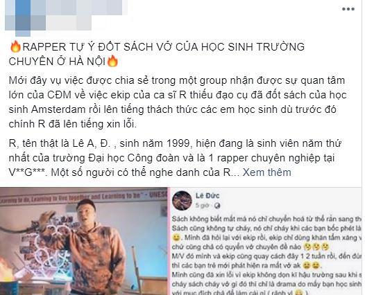 rapper,rapper đốt sách vở, đốt sách học sinh trường chuyên, Chủ tịch Hà Nội