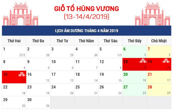 Giỗ tổ Hùng Vương, lễ 30/4 - 1/5, Lịch nghỉ lễ 2019