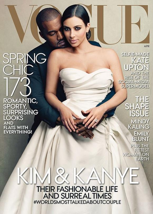 Kim Kardashian lên bìa Vogue,Kim Kardashian,ngôi sao truyền hình thực tế,tạp chí Vogue Mỹ
