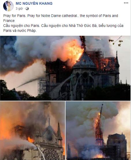 Dàn sao việt,nhà thờ đức bà paris bị cháy,sao việt,  Nha tho duc ba, chay lon
