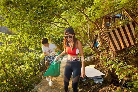 ,người mẫu Minh Tú,Người mẫu Hoàng thùy, á hậu Hoàng Thuỳ, hoa hậu Thuỳ Dung, sao Việt, dọn rác