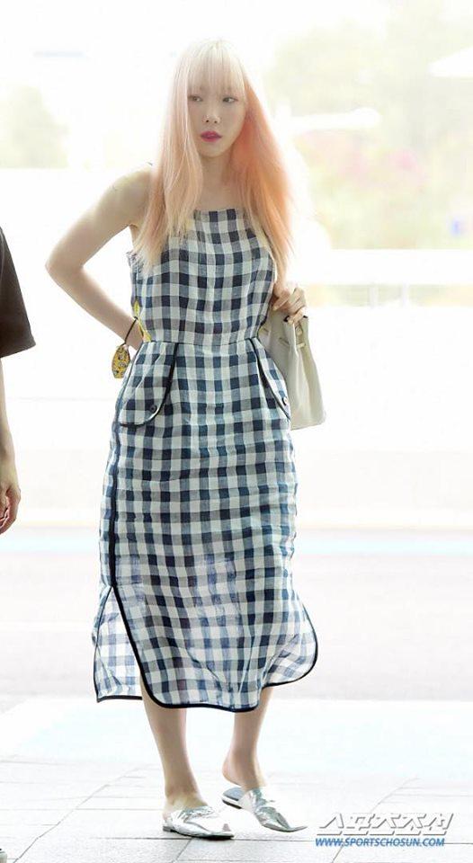 taeyeon, snsd, thời trang sân bay, sao hàn