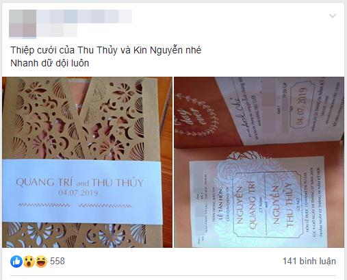 ca sĩ thu thuỷ, sao Việt, kin nguyễn, thiệp cưới