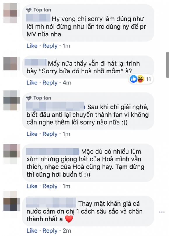 Chưa biết Hoà Minzy tuyên bố giải nghệ thật hay giả, cư dân mạng đã hưởng ứng nhiệt tình và 'xin đừng sorry'