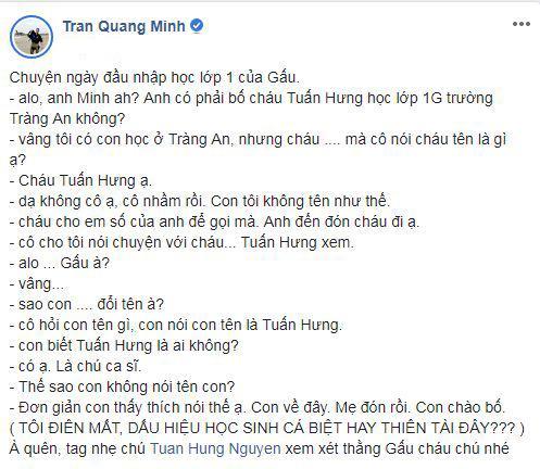 BTV Quang Minh, Tuấn Hưng, con trai BTV Quang Minh, sao Việt