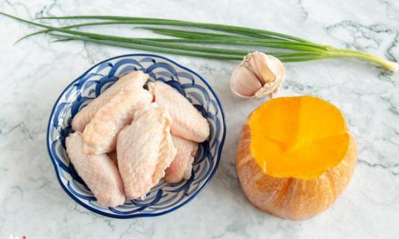 cánh gà, bí đỏ, dạy nấu ăn, món ngon