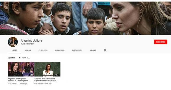 angelina jolie, kênh youtube, sao hollywood