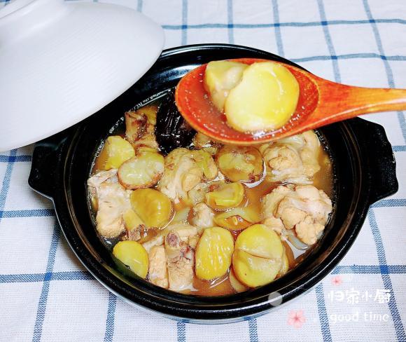 gà hầm, hạt dẻ, dạy nấu ăn