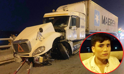 container tông văng hàng loạt xe máy trên cầu Thanh Trì, container đâm người văng xuống sông hồng, tai nạn giao thông