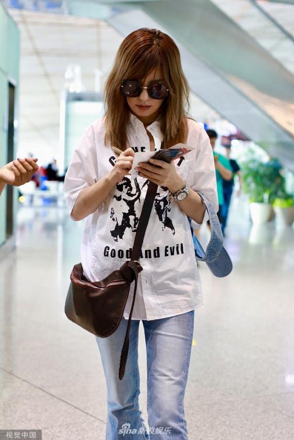 triệu vy, thời trang sân bay, bầu bí, sao hoa ngữ