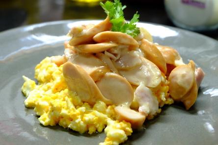 trứng chiên, trứng chiên phô mai thịt xông khói, món ăn với trứng
