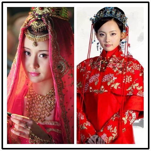 Mỹ nhân cổ trang Hoa ngữ đọ sắc với váy cô dâu truyền thống