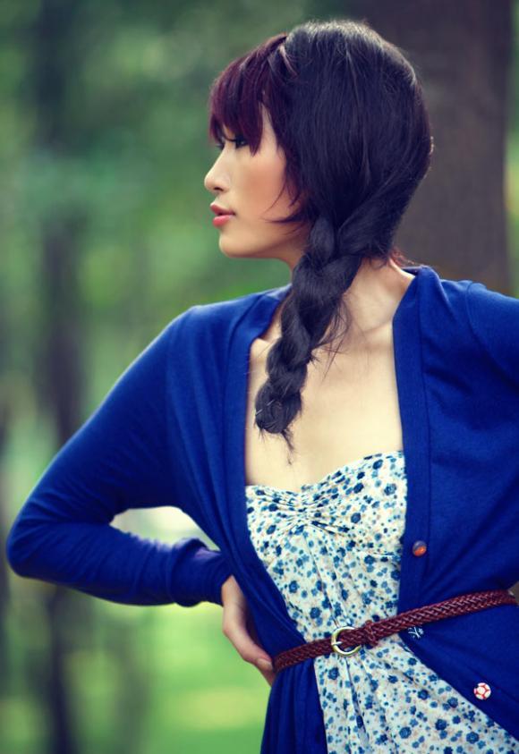 Huyền Trang kết tóc bím đáng yêu, Tin tức trong ngày, huyen trang, vietnam's next top model, thoi trang, vay, vay ngan, vintage