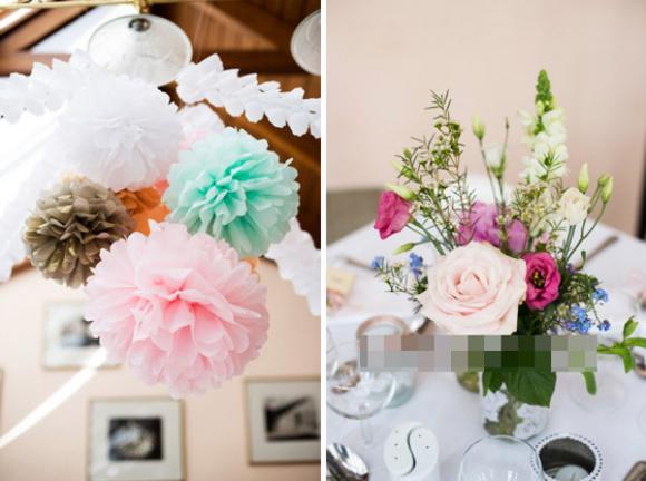 Những bình hoa nhỏ xinh để bàn ngày cưới đẹp