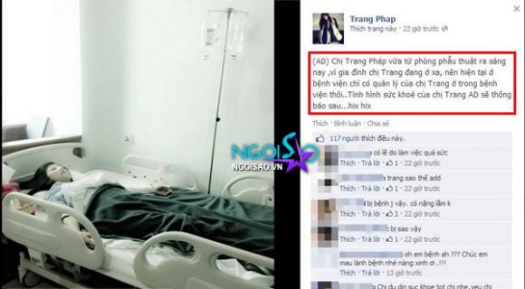 Ca sĩ Trang Pháp bất ngờ nhập viện
