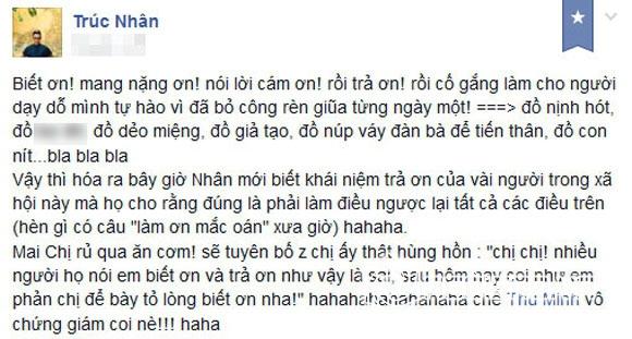 Trúc Nhân bức xúc vì bị cho là 'nịnh hót' Thu Minh