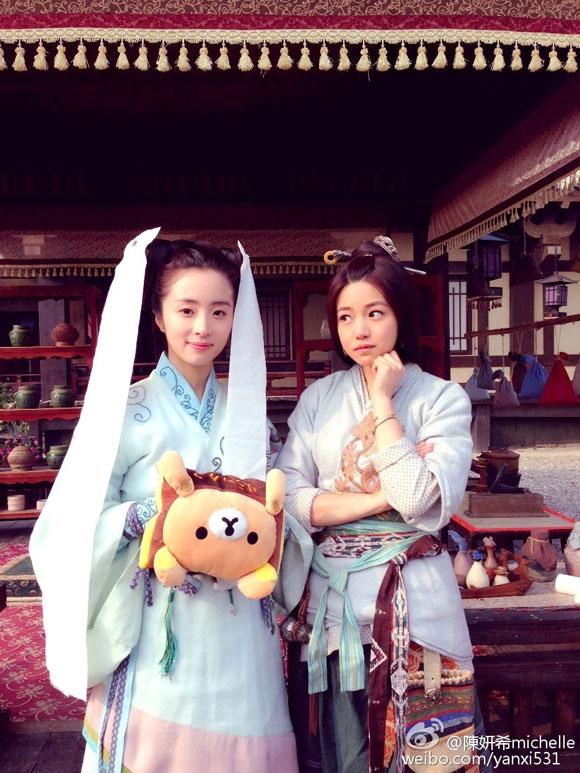 Trần Nghiên Hy xì tin trong hậu trường 'Tần Thời Minh Nguyệt'