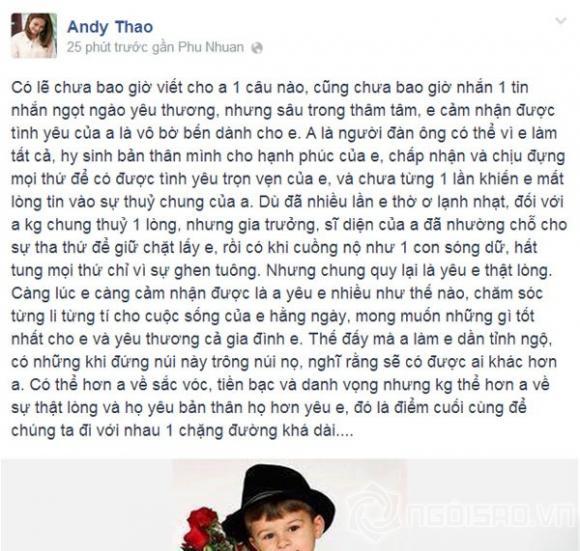 """Thanh Thảo viết """"tâm thư"""", hé lộ việc """"chung đường"""" với bạn trai đại gia"""