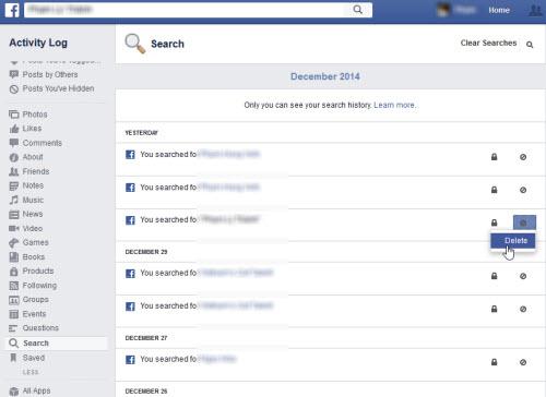 Xóa lịch sử tìm kiếm trên Facebook, Google