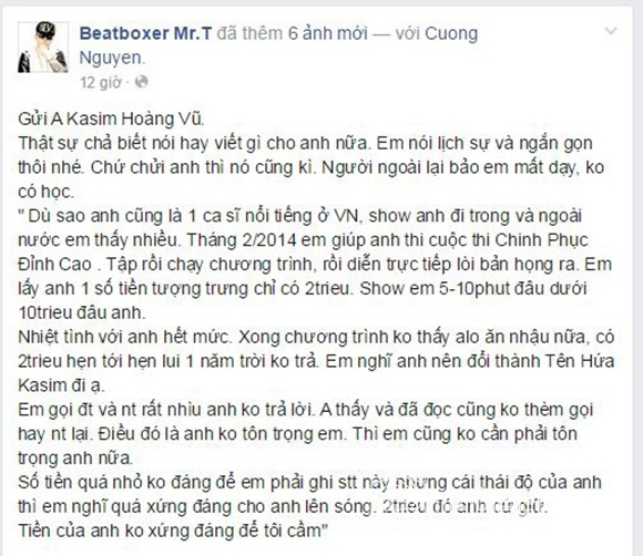 Kasim Hoàng Vũ bị MrT tố quỵt tiền 4