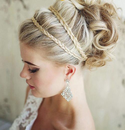 Búi tóc cao xu hướng làm tóc đẹp cho cô dâu 2015